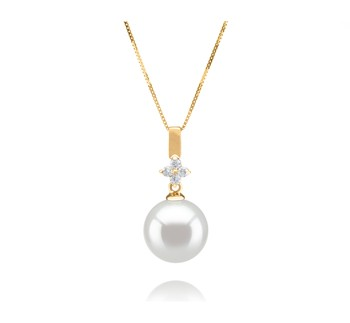 Hilda White 10-11mm AAA Quality South Sea 14K Yellow Gold Cultured Pearl Pendant