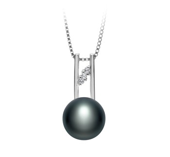 Hiriko Black 9-10mm AA Quality Freshwater 925 Sterling Silver Cultured Pearl Pendant