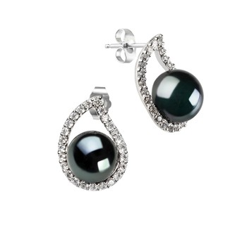 Isabella Black 9-10mm AA Quality Freshwater 925 Sterling Silver Cultured Pearl Earring Pair