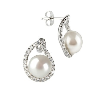 Isabella White 9-10mm AA Quality Freshwater 925 Sterling Silver Cultured Pearl Earring Pair