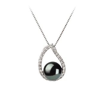Isabella Black 9-10mm AA Quality Freshwater 925 Sterling Silver Cultured Pearl Pendant