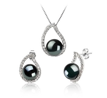 Isabella Black 9-10mm AA Quality Freshwater 925 Sterling Silver Cultured Pearl Set