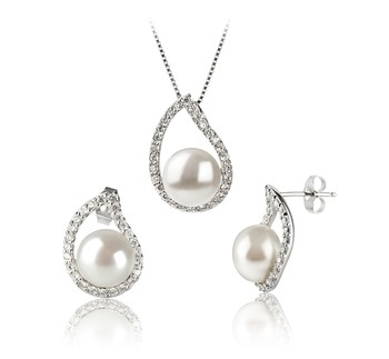 Isabella White 9-10mm AA Quality Freshwater 925 Sterling Silver Cultured Pearl Set