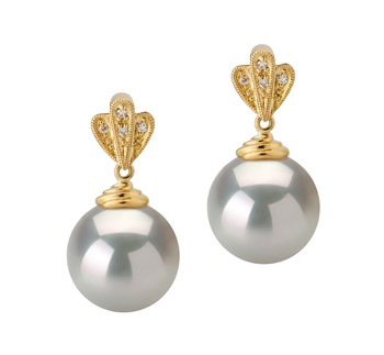 Ivana White 10-11mm AAA Quality South Sea 14K Yellow Gold Cultured Pearl Earring Pair
