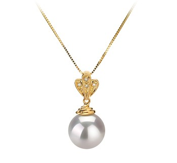 Ivana White 10-11mm AAA Quality South Sea 14K Yellow Gold Cultured Pearl Pendant