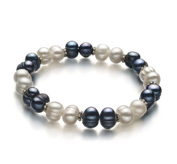 Jemima Black and White 6-7mm A Quality Freshwater Cultured Pearl Bracelet