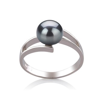 Jenna Black 7-8mm AAA Quality Freshwater 925 Sterling Silver Cultured Pearl Ring