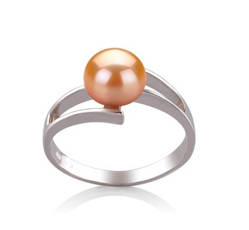 Jenna Pink 7-8mm AAA Quality Freshwater 925 Sterling Silver Cultured Pearl Ring