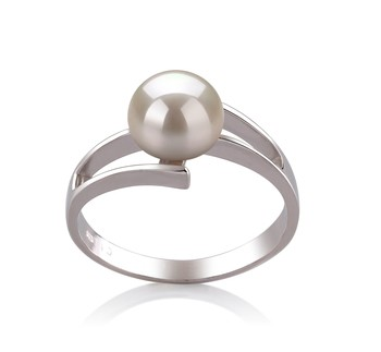 Jenna White 7-8mm AAA Quality Freshwater 925 Sterling Silver Cultured Pearl Ring