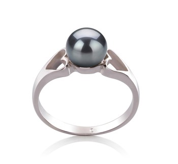 Jessica Black 6-7mm AA Quality Freshwater 925 Sterling Silver Cultured Pearl Ring