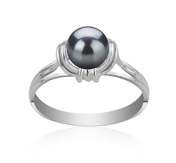 Joy Black 6-7mm AAAA Quality Freshwater 925 Sterling Silver Cultured Pearl Ring