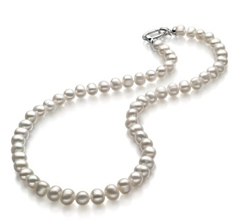 Joyce White 8-9mm A Quality Freshwater 925 Sterling Silver Cultured Pearl Necklace