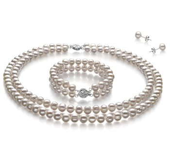 Juliane White 6-7mm Double Strand A Quality Freshwater Cultured Pearl Set