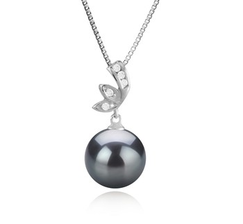 Justine Black 11-12mm AAA Quality Tahitian 925 Sterling Silver Cultured Pearl Pendant