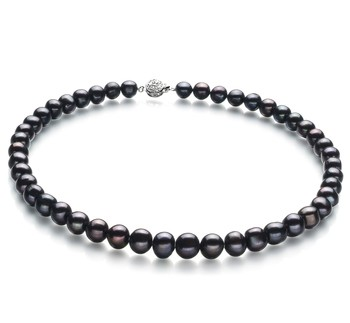 Kaitlyn Black 8-9mm A Quality Freshwater Cultured Pearl Necklace