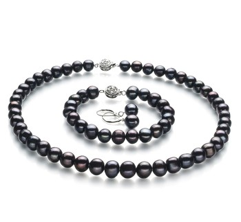 Kaitlyn Black 8-9mm A Quality Freshwater 925 Sterling Silver Cultured Pearl Set