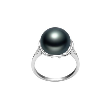 Kalina Black 11-12mm AAA Quality Freshwater 925 Sterling Silver Cultured Pearl Ring