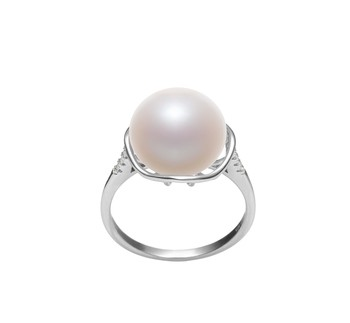 Kalina White 11-12mm AAA Quality Freshwater 925 Sterling Silver Cultured Pearl Ring