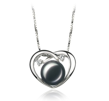 Katie Heart Black 9-10mm AA Quality Freshwater 925 Sterling Silver Cultured Pearl Pendant