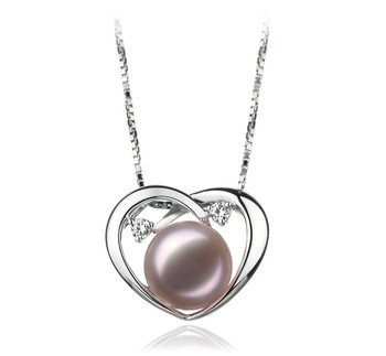 Katie Heart Lavender 9-10mm AA Quality Freshwater 925 Sterling Silver Cultured Pearl Pendant