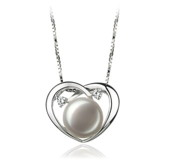Katie Heart White 9-10mm AA Quality Freshwater 925 Sterling Silver Cultured Pearl Pendant