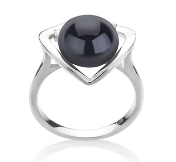 Katie Heart Black 9-10mm AA Quality Freshwater 925 Sterling Silver Cultured Pearl Ring