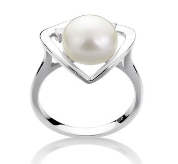 Katie Heart White 9-10mm AA Quality Freshwater 925 Sterling Silver Cultured Pearl Ring