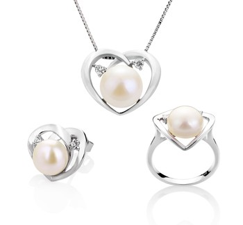 Katie Heart White 7-10mm AA Quality Freshwater 925 Sterling Silver Cultured Pearl Set
