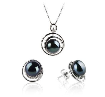 Kelly Black 9-10mm AA Quality Freshwater 925 Sterling Silver Cultured Pearl Set