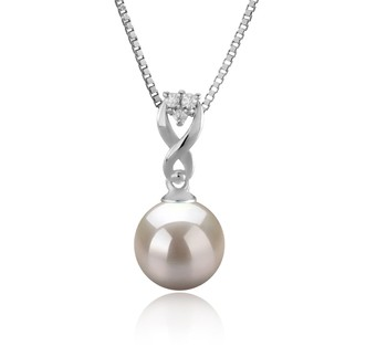 Kendra White 8-9mm AAAA Quality Freshwater 925 Sterling Silver Cultured Pearl Pendant
