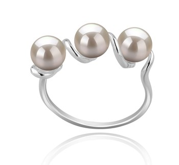 Kitty White 5-6mm AAAA Quality Freshwater 925 Sterling Silver Cultured Pearl Ring