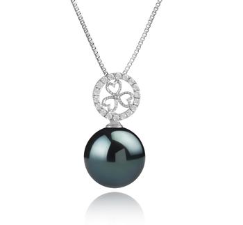 Klara Black 12-13mm AA Quality Tahitian 925 Sterling Silver Cultured Pearl Pendant