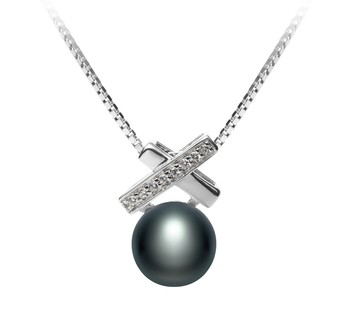 Klarita Black 7-8mm AAA Quality Freshwater 925 Sterling Silver Cultured Pearl Pendant