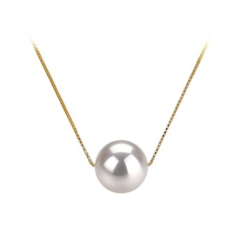 Kristine White 8-9mm AAA Quality Japanese Akoya 14K Yellow Gold Cultured Pearl Pendant
