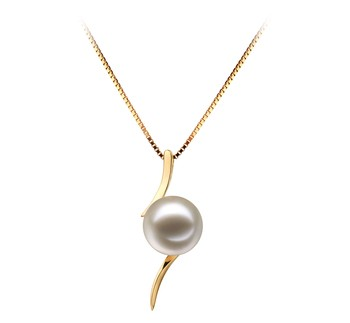 Lanella White 6-7mm AAAA Quality Freshwater 14K Yellow Gold Cultured Pearl Pendant
