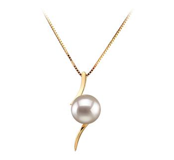 Lanella White 6-7mm AA Quality Japanese Akoya 14K Yellow Gold Cultured Pearl Pendant