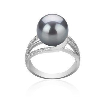 Layana Black 10-11mm AAA Quality Tahitian 925 Sterling Silver Cultured Pearl Ring