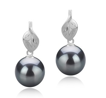 Leaf Black 8-9mm AAAA Quality Freshwater 925 Sterling Silver Cultured Pearl Earring Pair