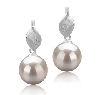 Leaf White 8-9mm AAAA Quality Freshwater 925 Sterling Silver Cultured Pearl Earring Pair