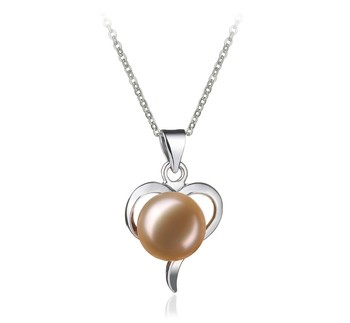 Leeza Pink 9-10mm AA Quality Freshwater White Bronze Cultured Pearl Pendant