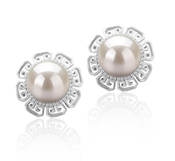 Leonie White 9-10mm AAAA Quality Freshwater 925 Sterling Silver Cultured Pearl Earring Pair