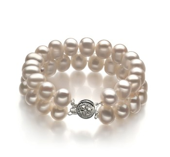 Leonora White 8-9mm Double Strand A Quality Freshwater Cultured Pearl Bracelet