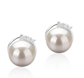 Leslie White 7-8mm AAAA Quality Freshwater 925 Sterling Silver Cultured Pearl Earring Pair