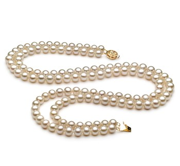 Liah White 6-7mm Double Strand AA Quality Freshwater Cultured Pearl Necklace