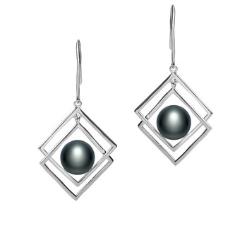 Lilian Black 8-9mm AAA Quality Freshwater 925 Sterling Silver Cultured Pearl Earring Pair