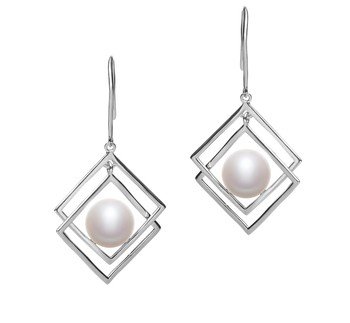 Lilian White 8-9mm AAA Quality Freshwater 925 Sterling Silver Cultured Pearl Earring Pair