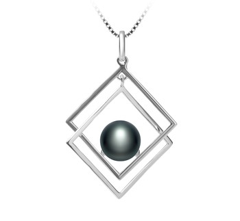Lilian Black 8-9mm AAA Quality Freshwater 925 Sterling Silver Cultured Pearl Pendant