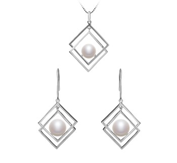 Lilian White 8-9mm AAA Quality Freshwater 925 Sterling Silver Cultured Pearl Set
