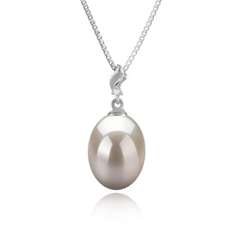 Lindsay White 9-10mm AAA Quality Freshwater 925 Sterling Silver Cultured Pearl Pendant