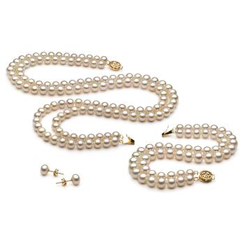 Liska White 6-7mm Double Strand AA Quality Freshwater Cultured Pearl Set